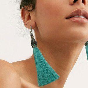 Free People Blue Tassel Earrings